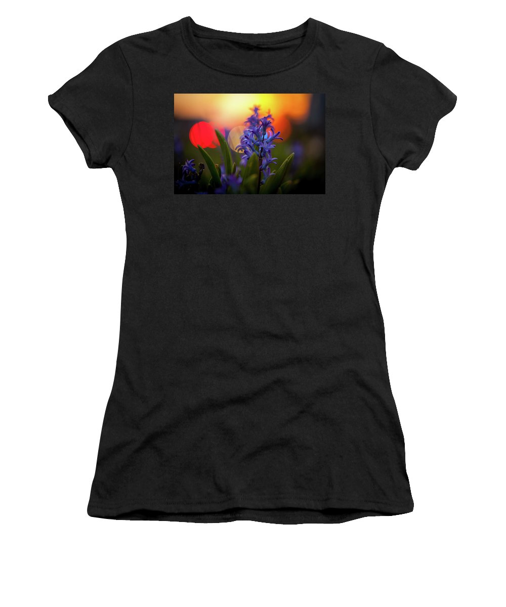 Sunset Women's T-Shirt (Athletic Fit) featuring the photograph Hyacinth Sunset by Roxy Sheckells