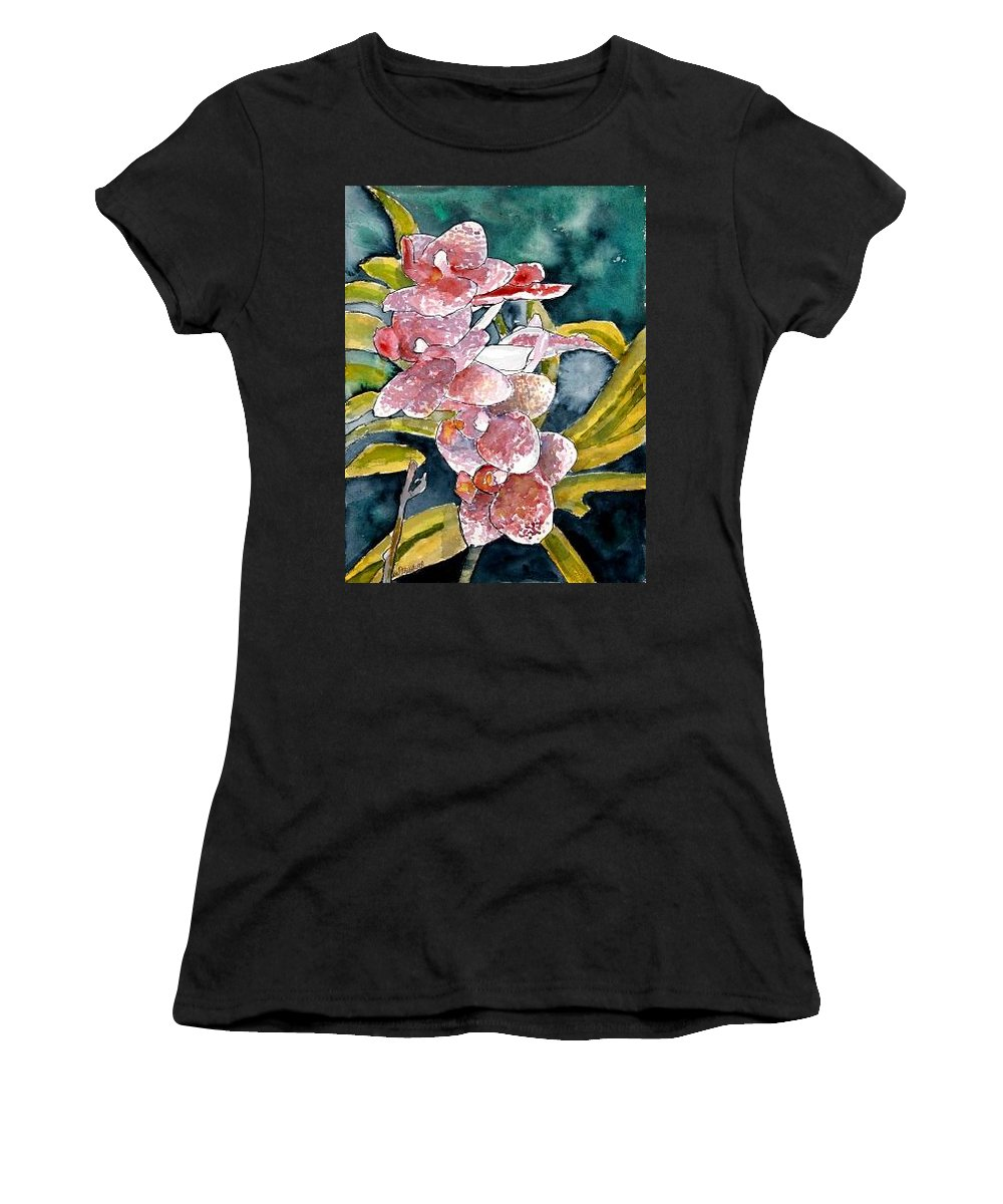 Orchid Women's T-Shirt (Athletic Fit) featuring the painting Hybrid Orchids Orchid Flowers by Derek Mccrea