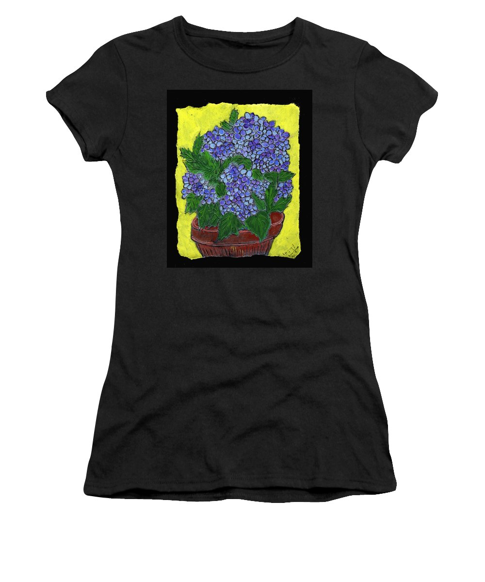 Flower Women's T-Shirt (Athletic Fit) featuring the painting Hydrangea In A Pot by Wayne Potrafka