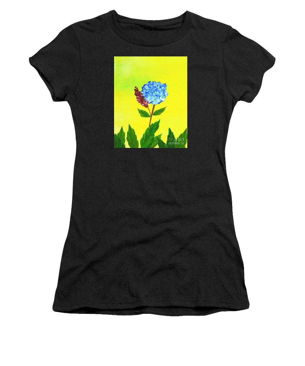 Background Women's T-Shirt (Athletic Fit) featuring the painting Hydrangea Watercolor by Rasirote Buakeeree