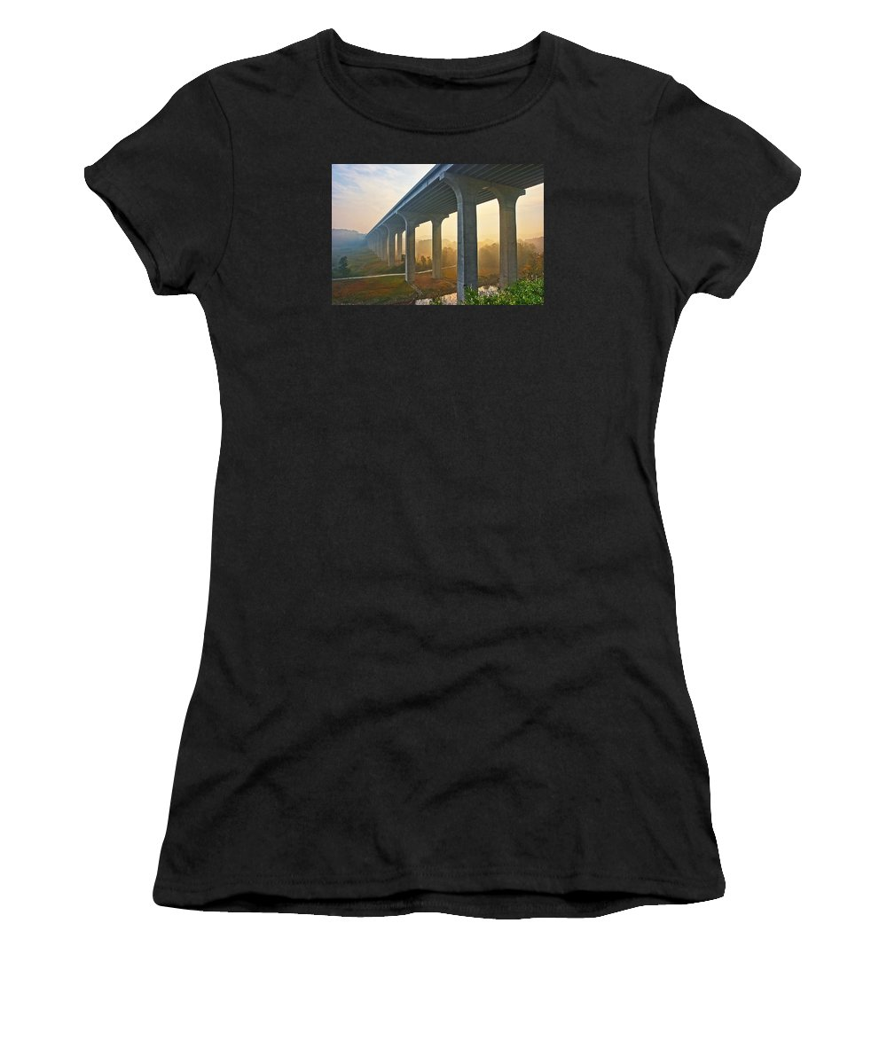 Architecture Women's T-Shirt (Athletic Fit) featuring the photograph I-80 In Cuyahoga Valley National Park by Marcia Colelli