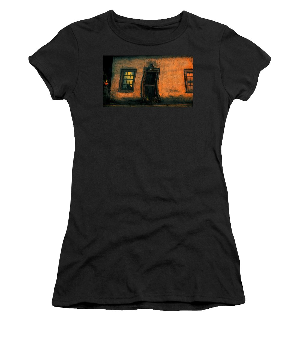 Cat Women's T-Shirt (Athletic Fit) featuring the painting I Dreamed A Black Cat by David Lee Thompson