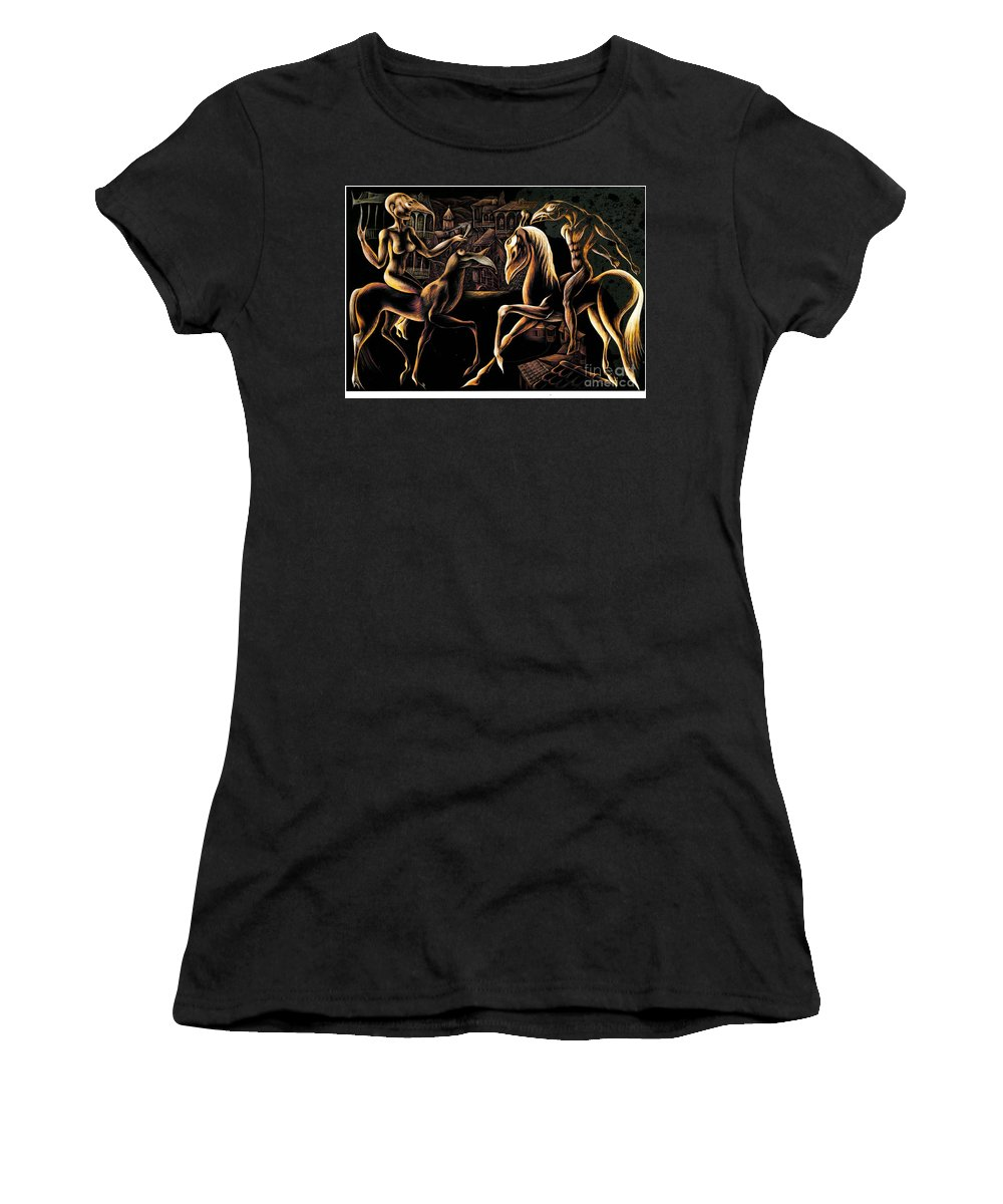 Land Women's T-Shirt (Athletic Fit) featuring the mixed media I Love You by Spartak Giorgadze