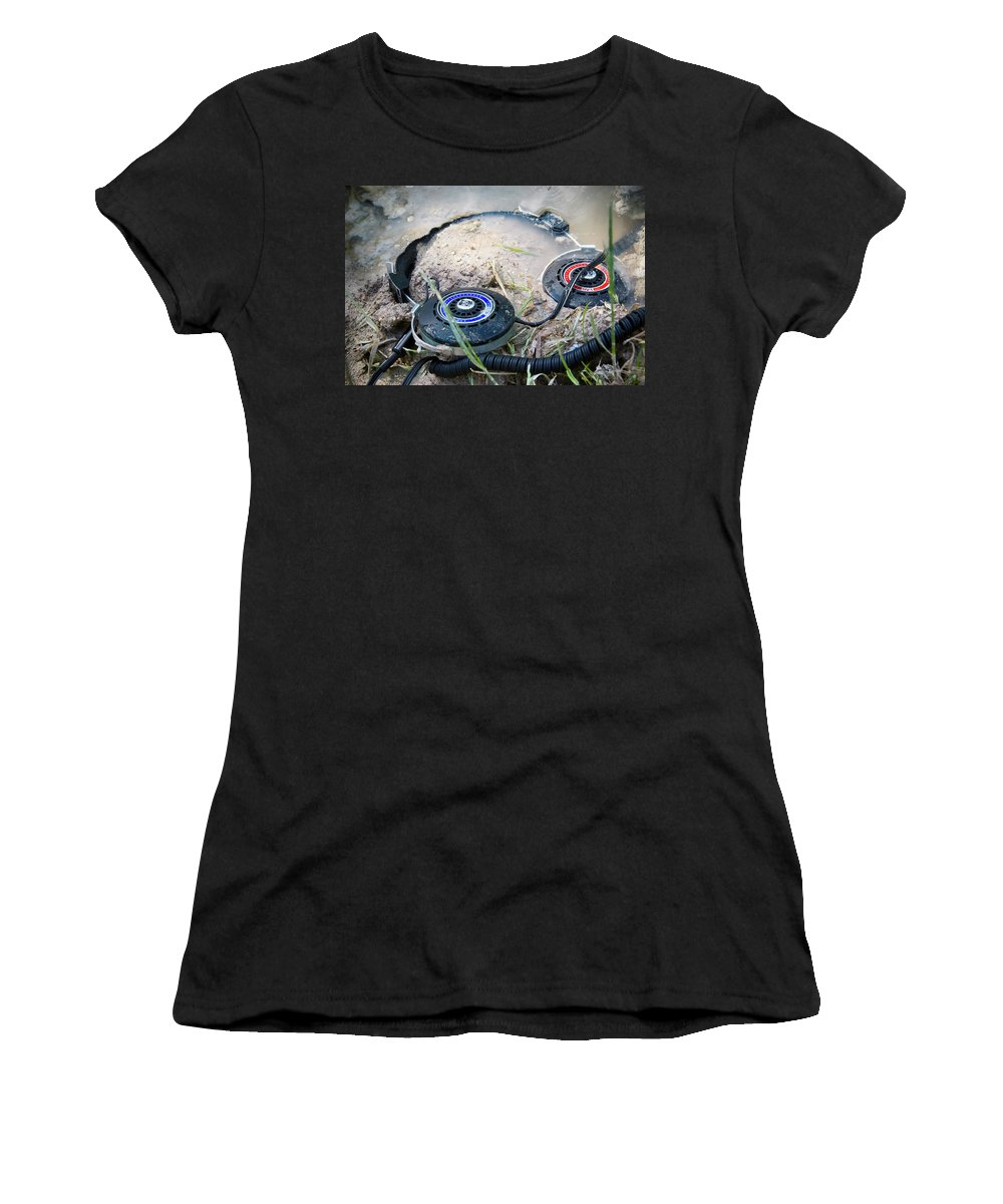 Headphones Women's T-Shirt featuring the photograph I Was Cautioned To Surrender by Micah Offman