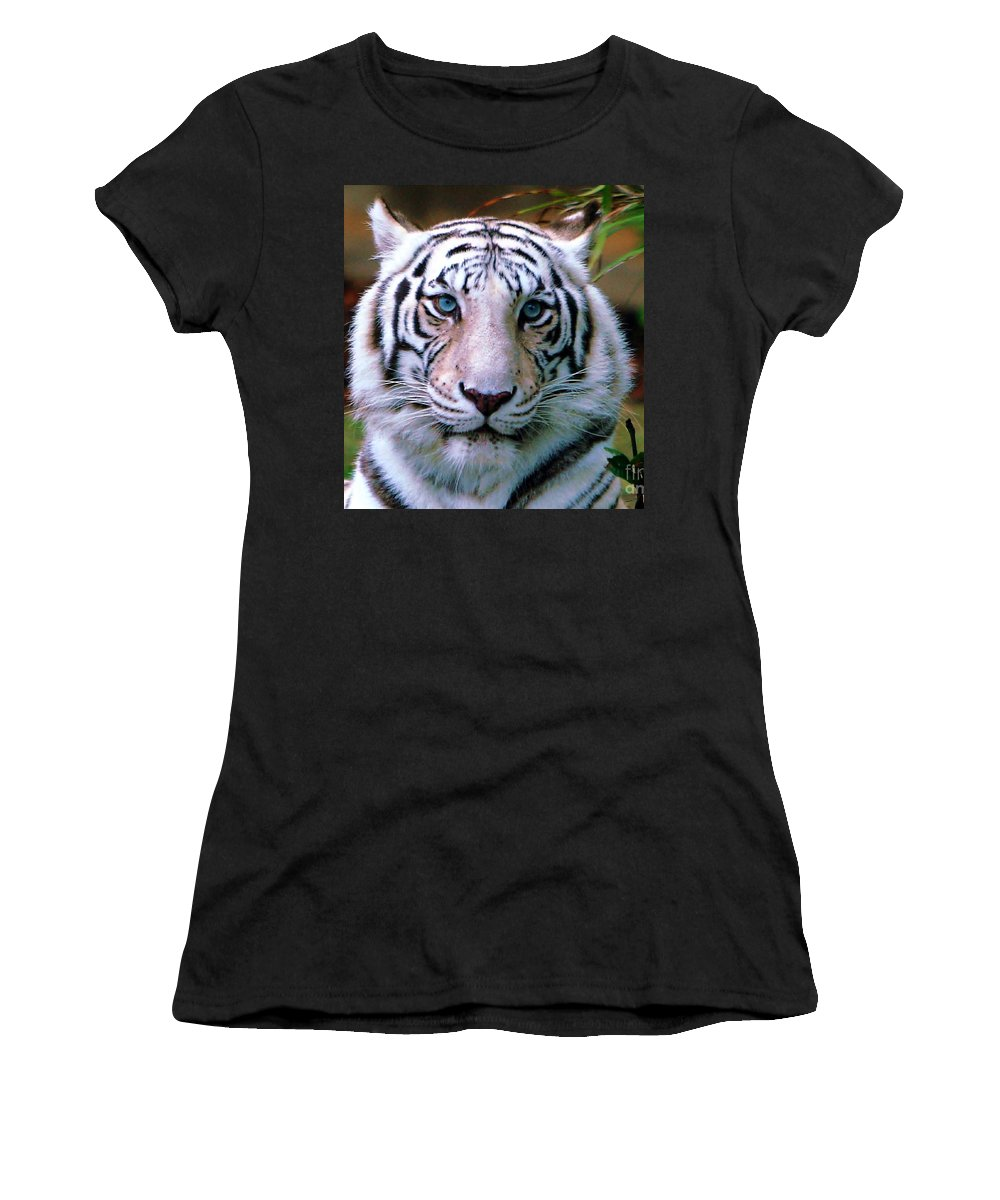 Tiger Women's T-Shirt (Athletic Fit) featuring the photograph Ice Blue Eyes Of The Tiger by Randy Matthews