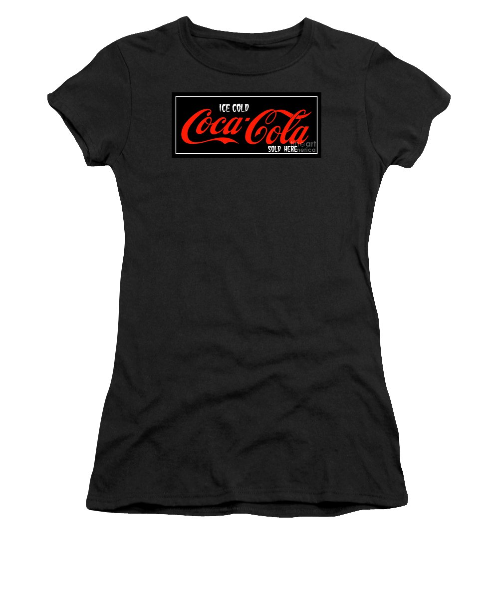 Coke Signage Women's T-Shirt (Athletic Fit) featuring the photograph Ice Cold Coke 8 Coca Cola Art by Reid Callaway