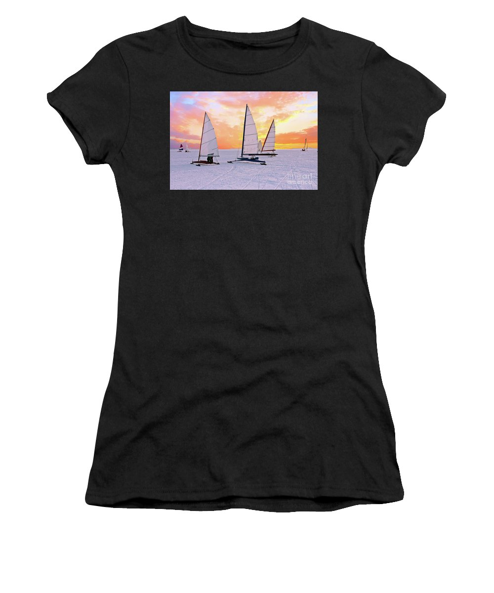 Ice Sailing Women's T-Shirt (Athletic Fit) featuring the photograph Ice Sailing On The Gouwzee In The Countryside From The Netherlan by Nisangha Ji