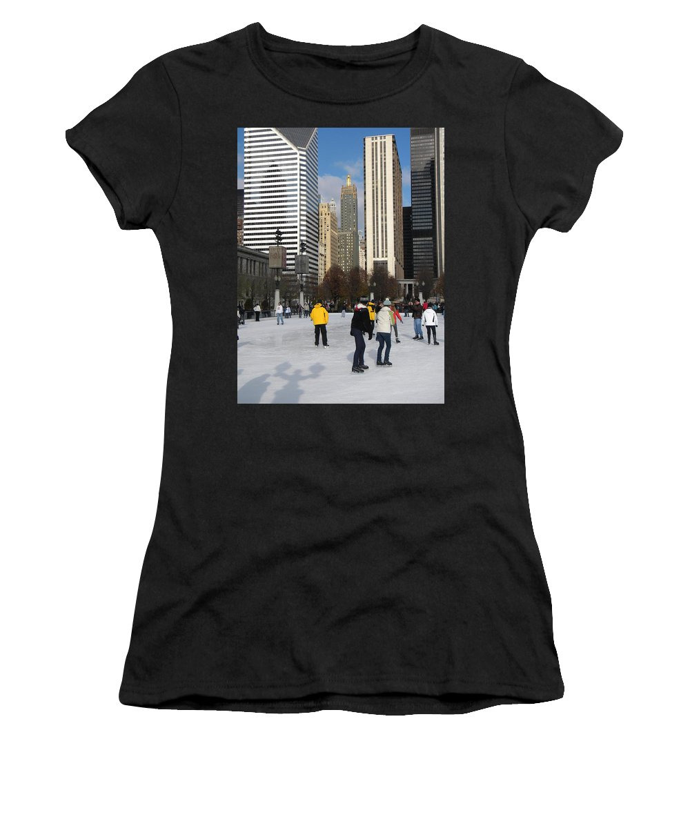 Cityscene Women's T-Shirt (Athletic Fit) featuring the photograph Ice Skating In The Park by Jan Gilmore