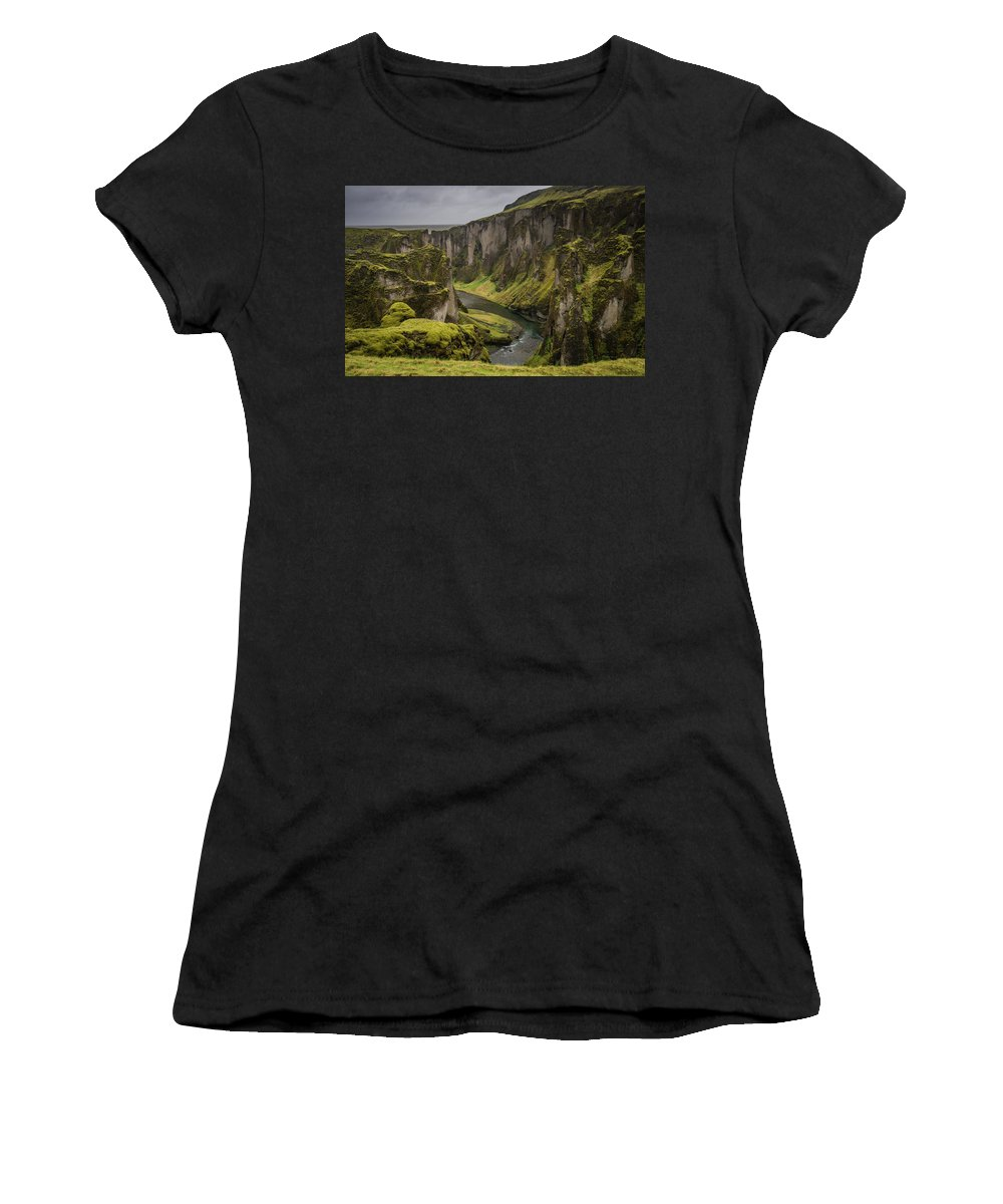 Iceland Women's T-Shirt (Athletic Fit) featuring the photograph Iceland Valley by Doug Ebbert
