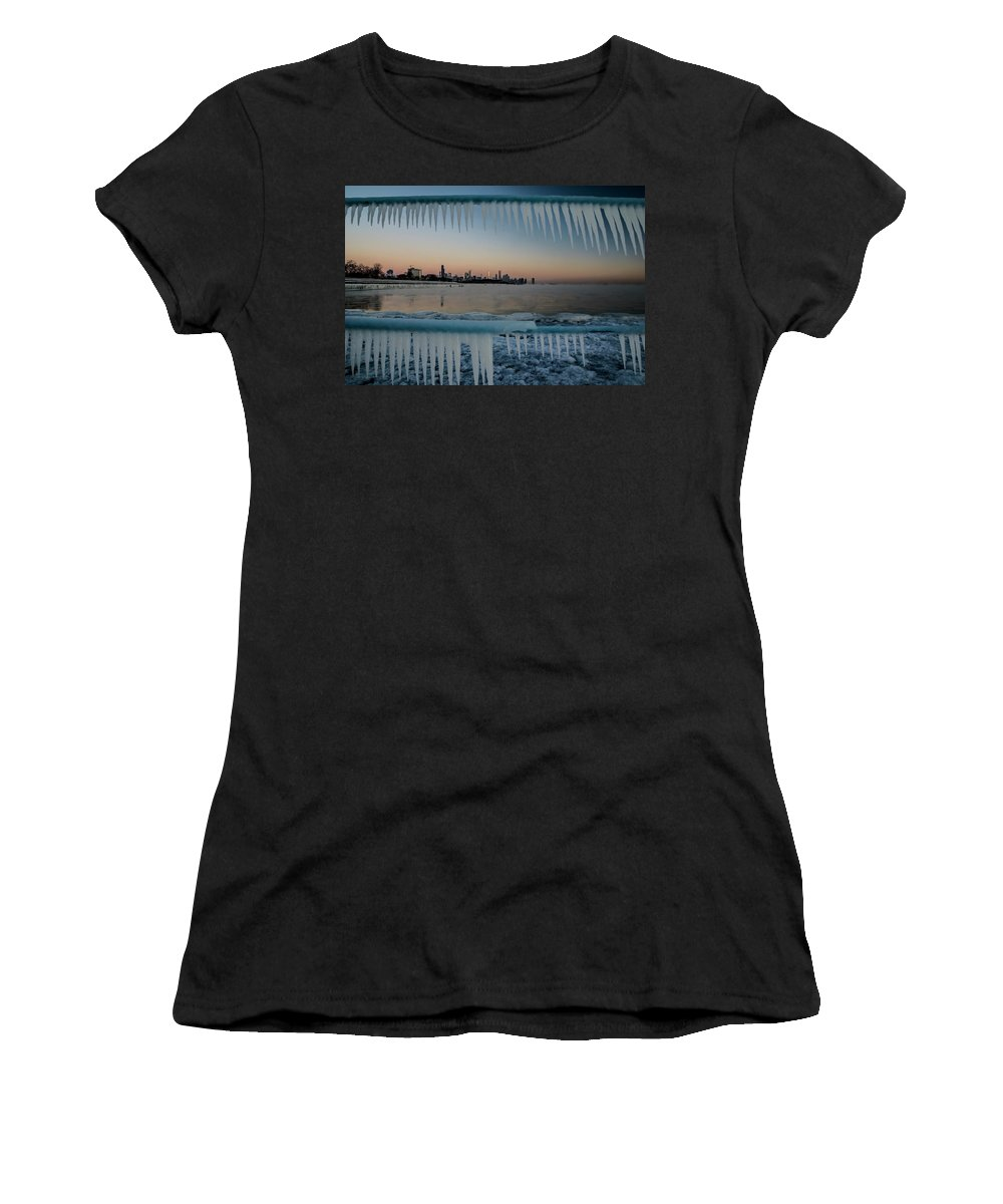 Icicles Women's T-Shirt (Athletic Fit) featuring the photograph Icicles And Chicago Skyline by Sven Brogren