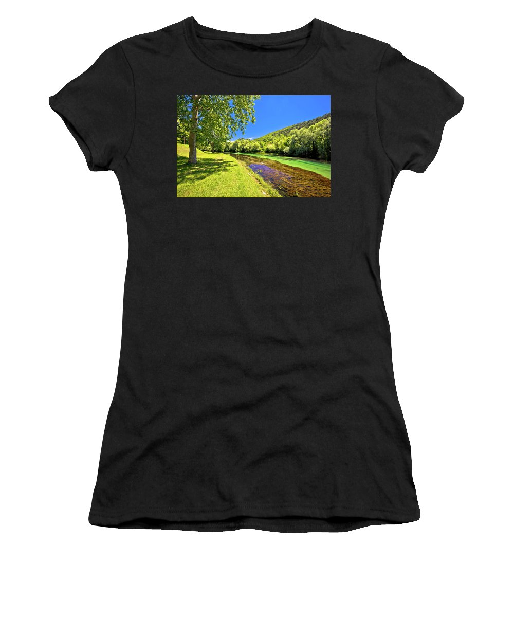 Landscape Women's T-Shirt (Athletic Fit) featuring the photograph Idyllic Krka River In Knin Landscape by Brch Photography