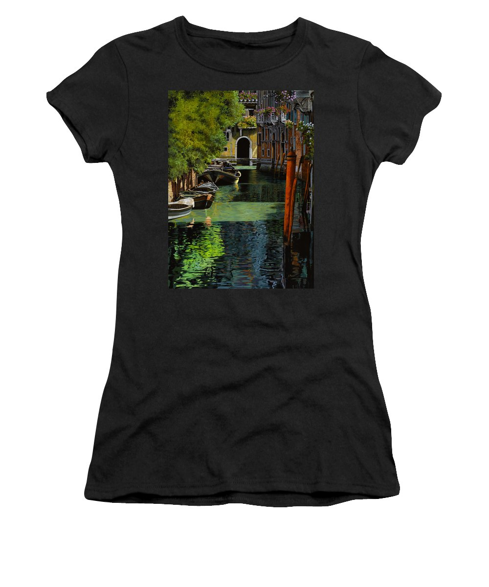 Venice Women's T-Shirt (Athletic Fit) featuring the painting il palo rosso a Venezia by Guido Borelli