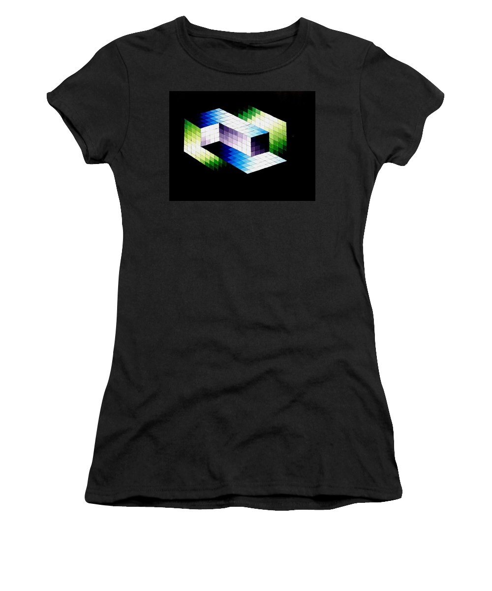 Optical Illusion Women's T-Shirt (Athletic Fit) featuring the painting Illusion by Helena Brnadic