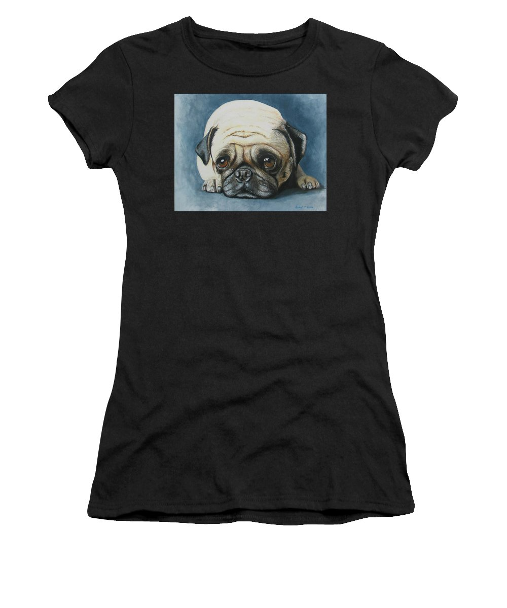 Pug Portrait Women's T-Shirt featuring the painting I'm Bored by Robert Hilton