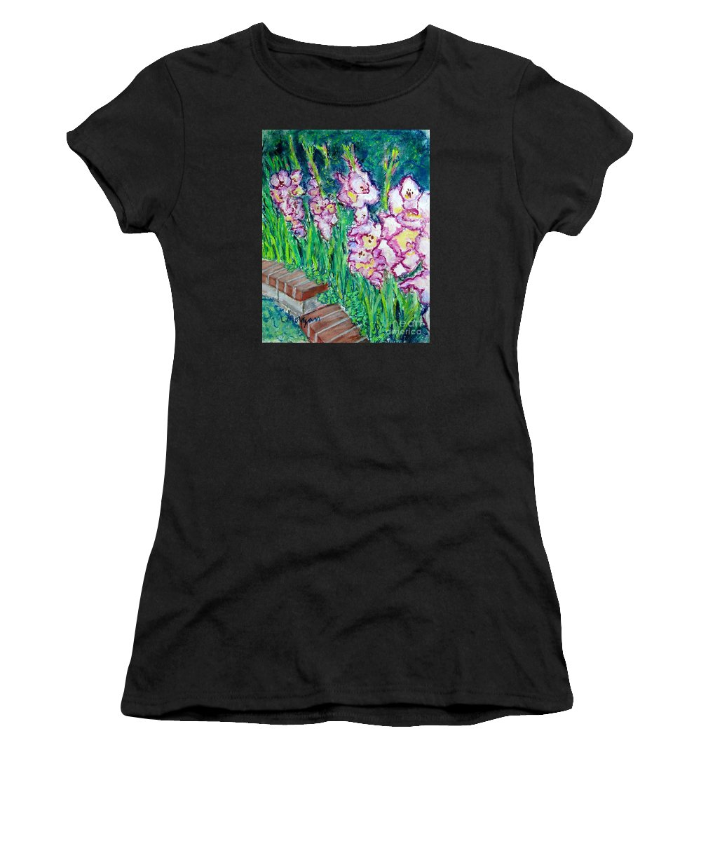 Gladioli Women's T-Shirt featuring the painting I'm So Glad by Laurie Morgan