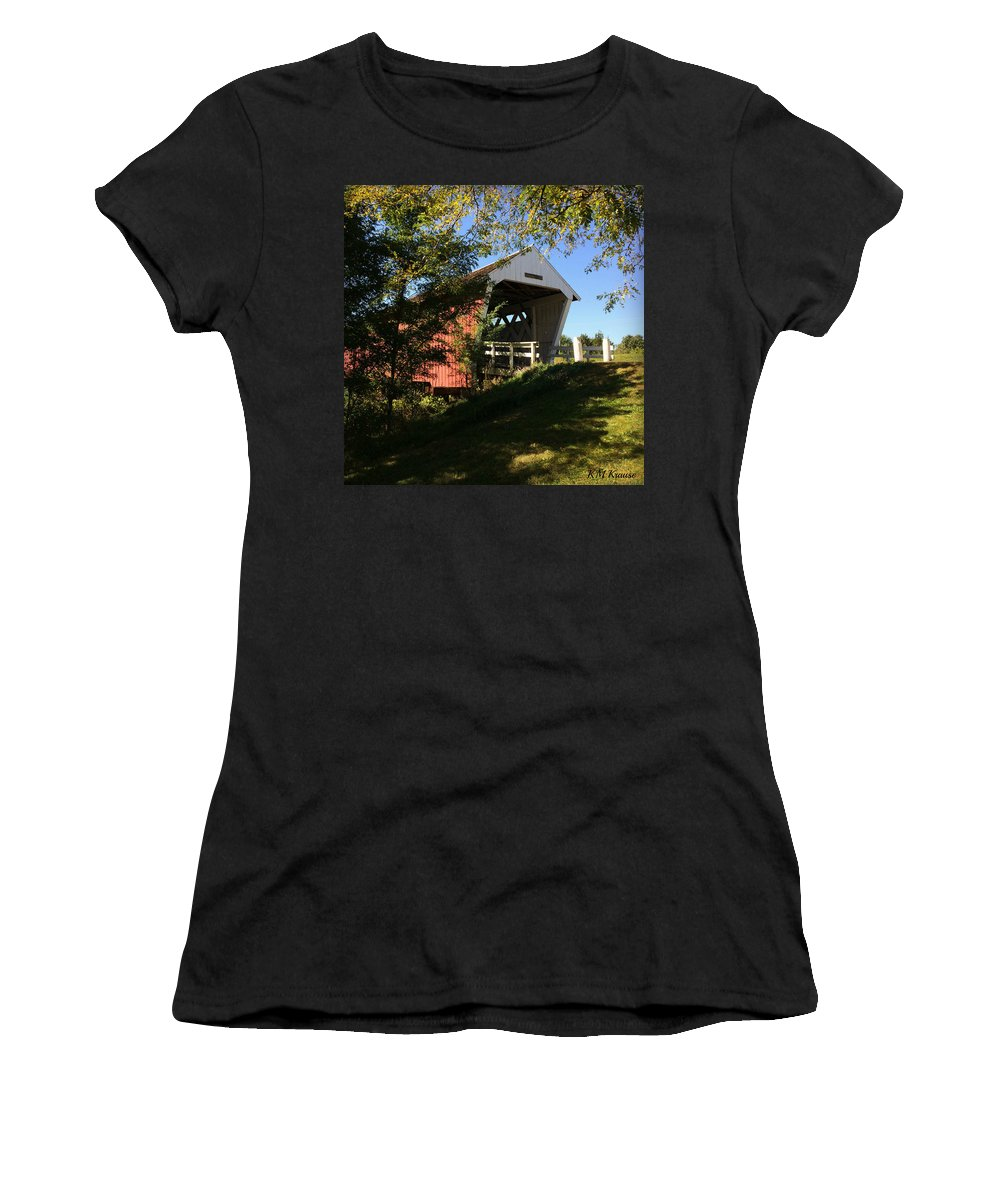 Imes Covered Bridge-winterset Women's T-Shirt (Athletic Fit) featuring the photograph Imes Covered Bridge-winterset by Kathy M Krause