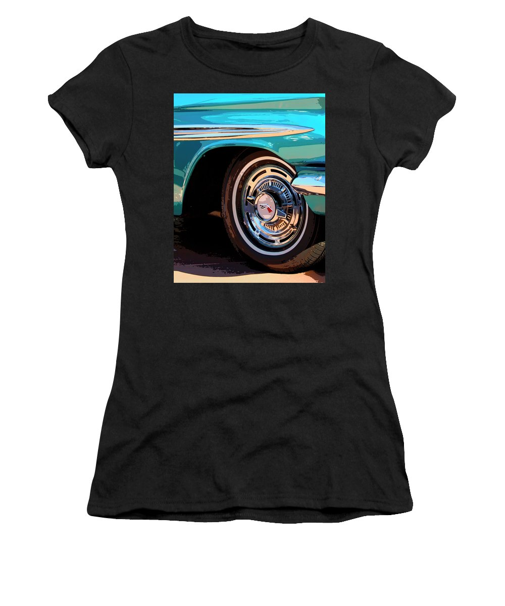 Classic Car Women's T-Shirt (Athletic Fit) featuring the photograph Impala by William Dey