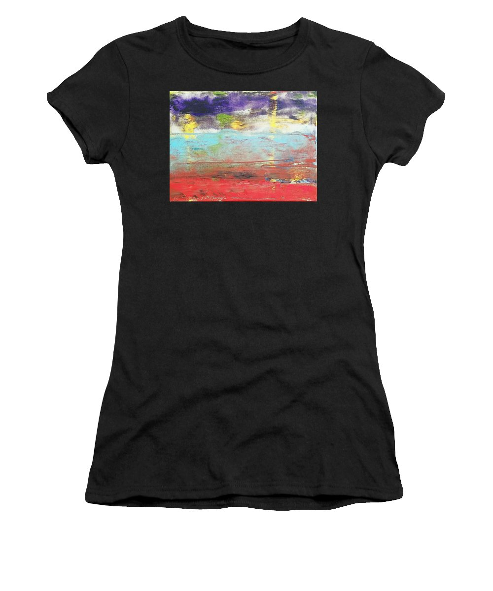 Water Land Travel Sunset Clouds Yellow Blue Red Orange Purple Women's T-Shirt (Athletic Fit) featuring the painting Impression Collection I In Sight Of Land by Barry Ferguson