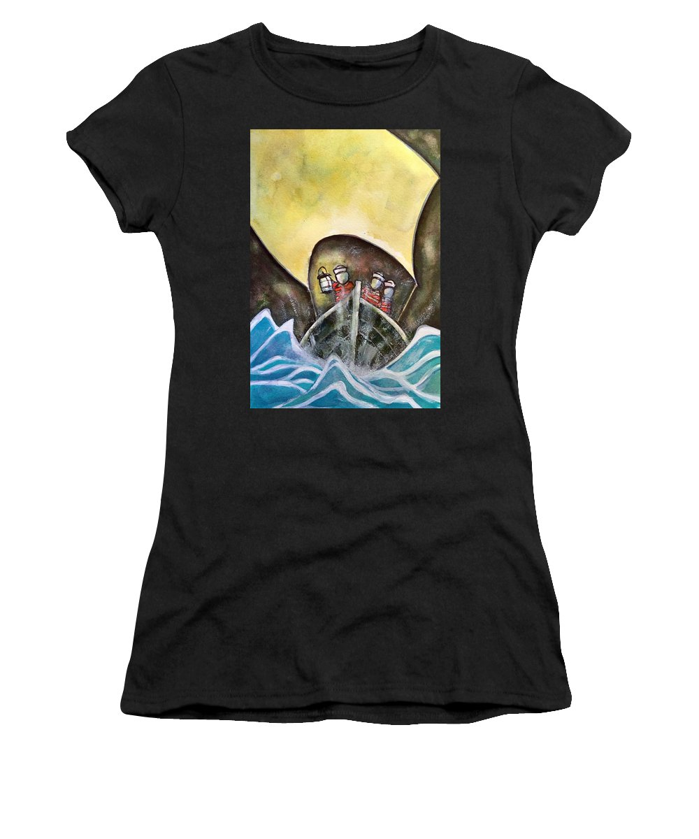 Women's T-Shirt (Athletic Fit) featuring the painting In Pursuit Of by Michael Rome