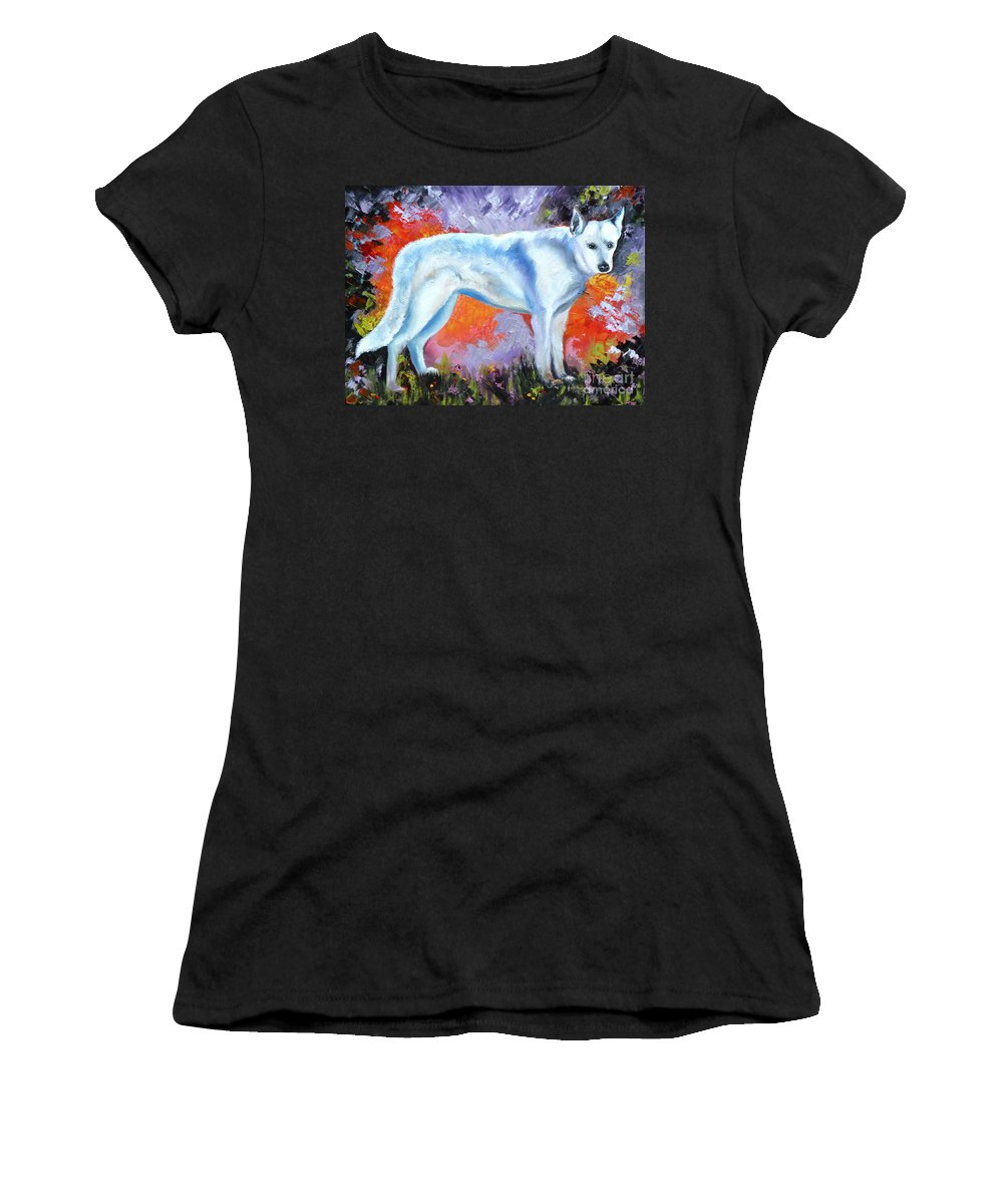 Dogs Women's T-Shirt featuring the painting In Shepherd Heaven by Susan A Becker
