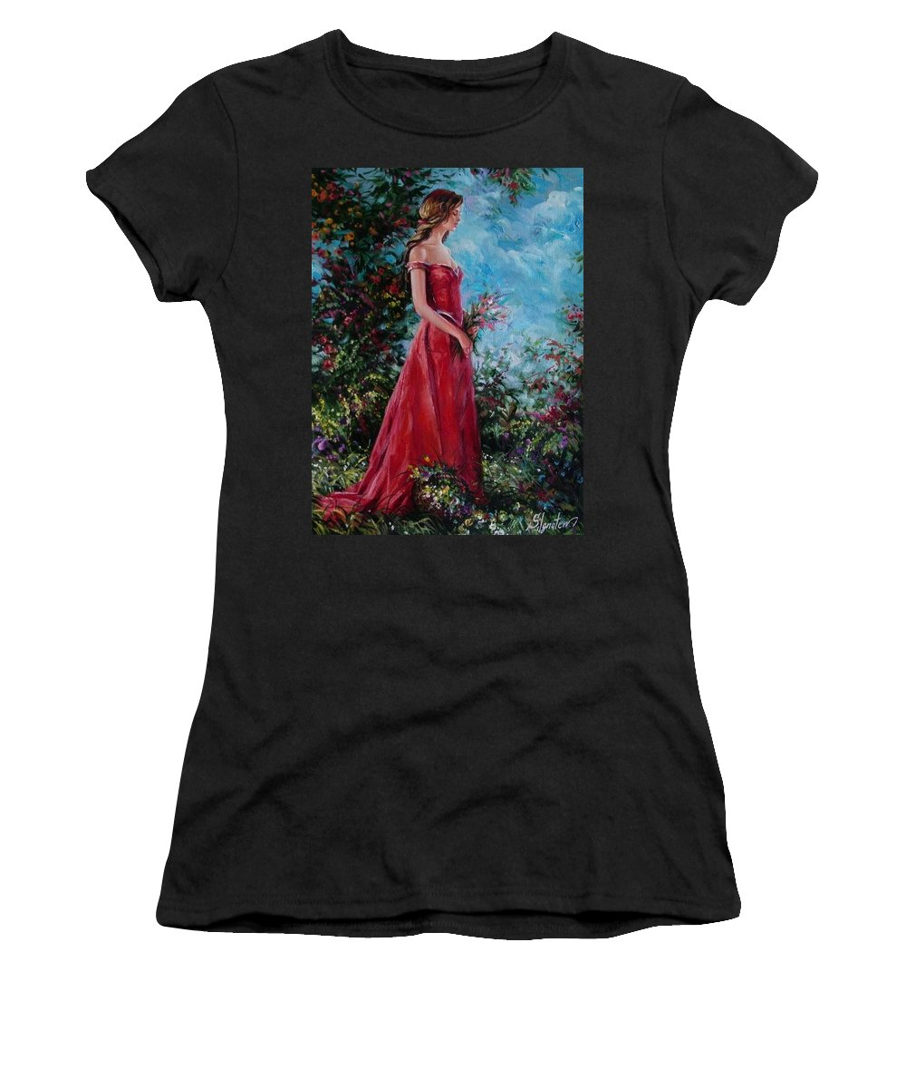 Figurative Women's T-Shirt (Athletic Fit) featuring the painting In Summer Garden by Sergey Ignatenko