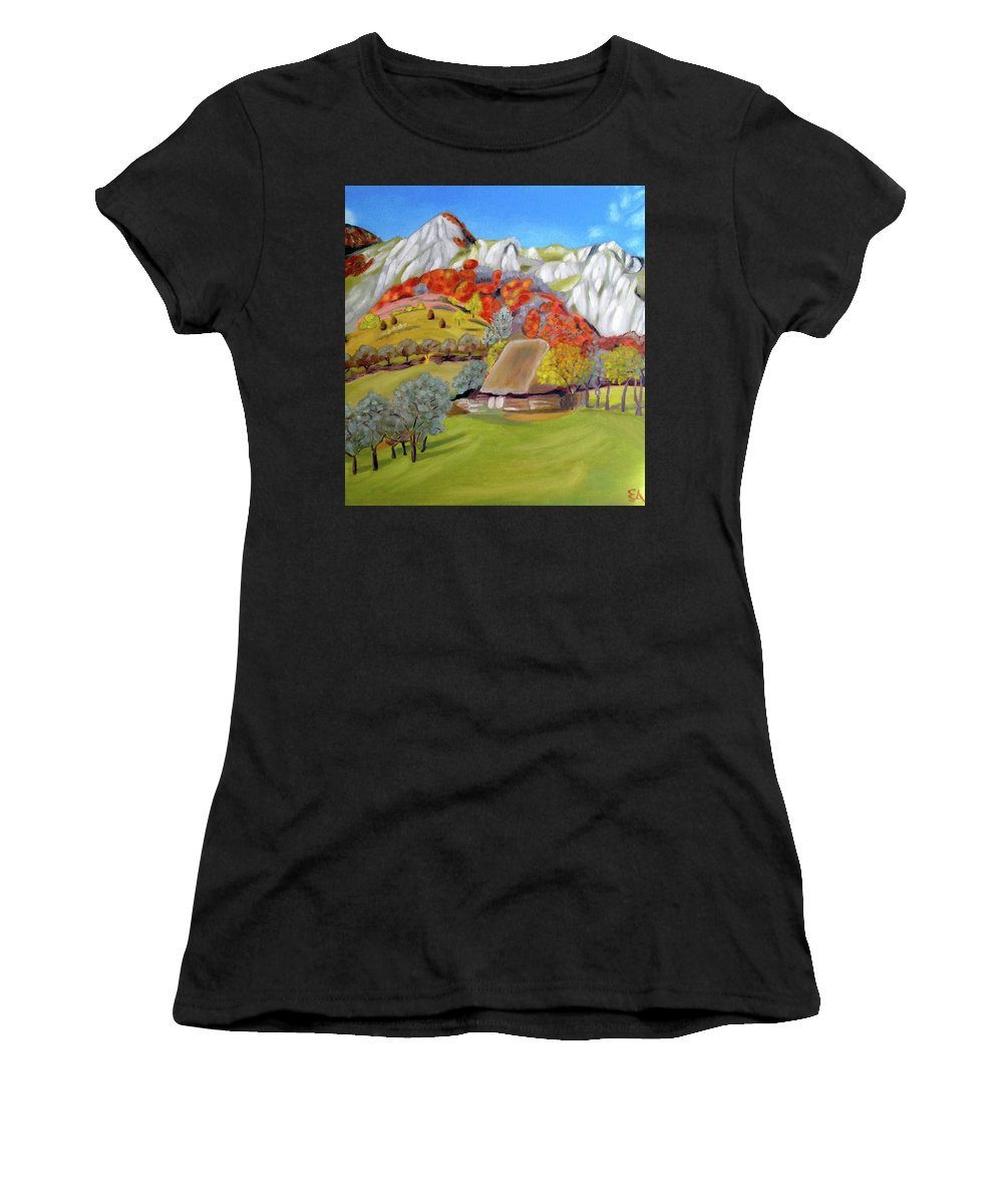 Landscape Women's T-Shirt (Athletic Fit) featuring the painting In The Autumn Light by Margareta Apahidean