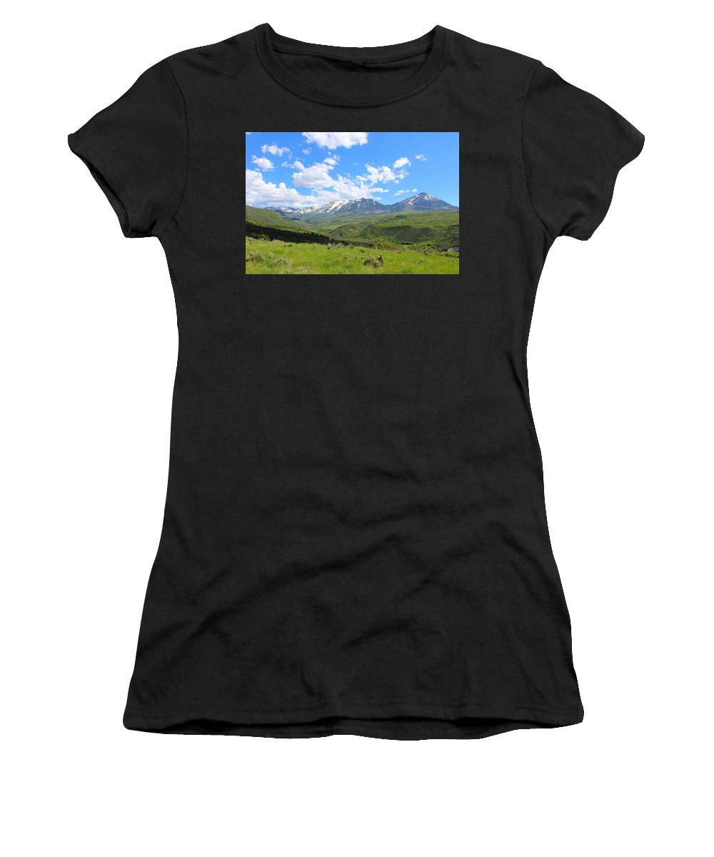 Mountains Women's T-Shirt (Athletic Fit) featuring the photograph In The Back Country 2 by Samantha Burrow