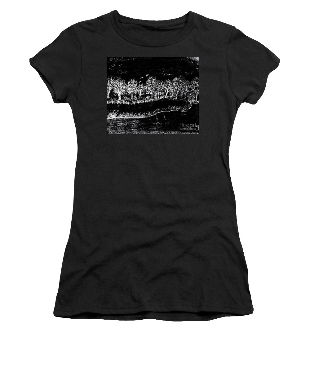 Pencil Women's T-Shirt featuring the drawing In The Dark Of The Night by Debra Lynch