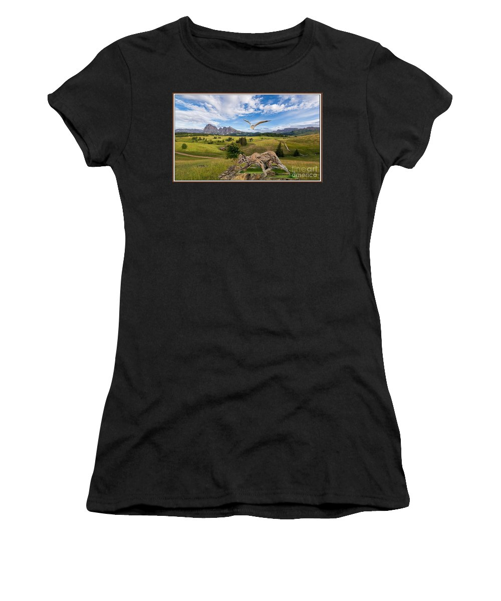Modern Painting Women's T-Shirt featuring the mixed media In The Field 27 by Pemaro