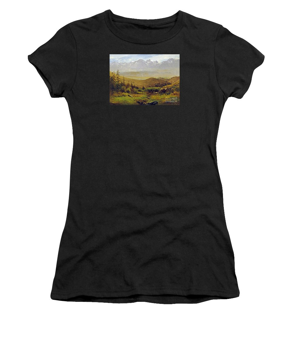 Albert Bierstadt Women's T-Shirt (Athletic Fit) featuring the painting In The Foothills Of The Rockies by Celestial Images