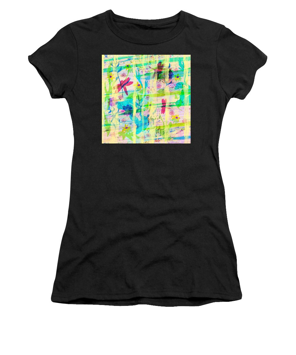 Abstract Women's T-Shirt (Athletic Fit) featuring the digital art In The Garden by Rachel Christine Nowicki