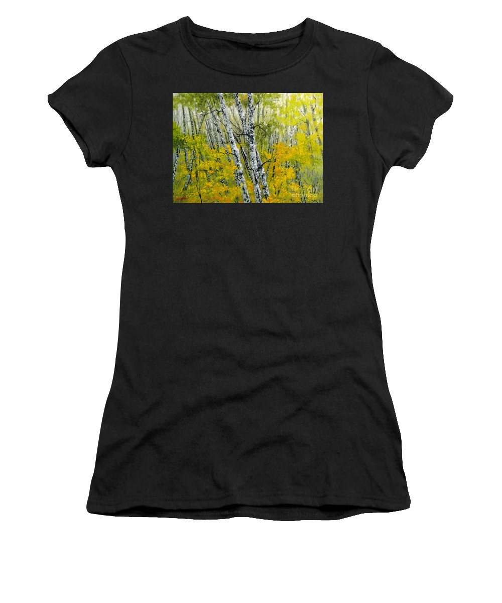 Autumn Women's T-Shirt (Athletic Fit) featuring the painting In The Woods by Boris Garibyan