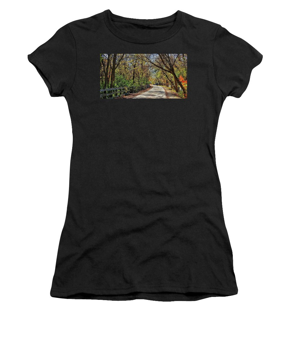 Women's T-Shirt (Athletic Fit) featuring the photograph Indiana Monon Trail by Renee Longo