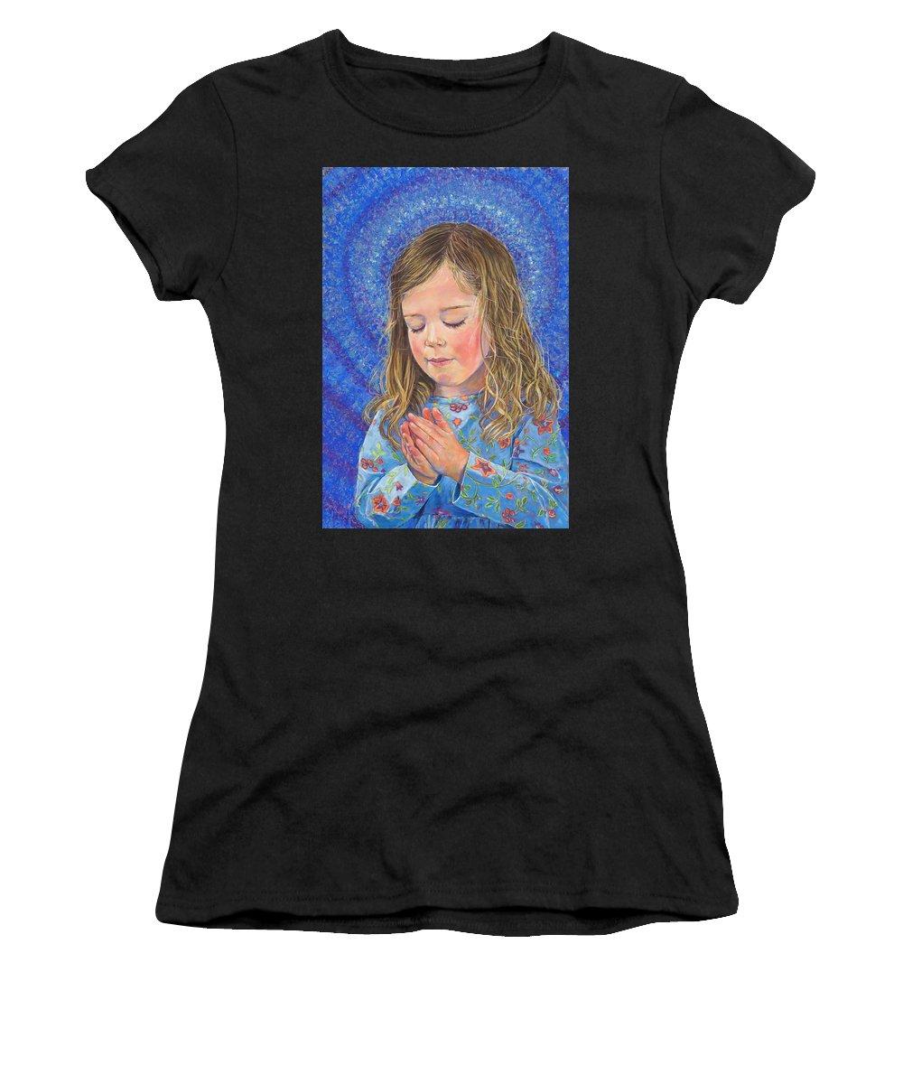 Birdseye Art Studio Women's T-Shirt (Athletic Fit) featuring the painting Indigo by Nick Payne