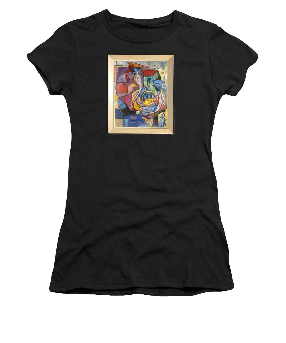 Women's T-Shirt featuring the painting Industrial Thinking Cap by Mykul Anjelo