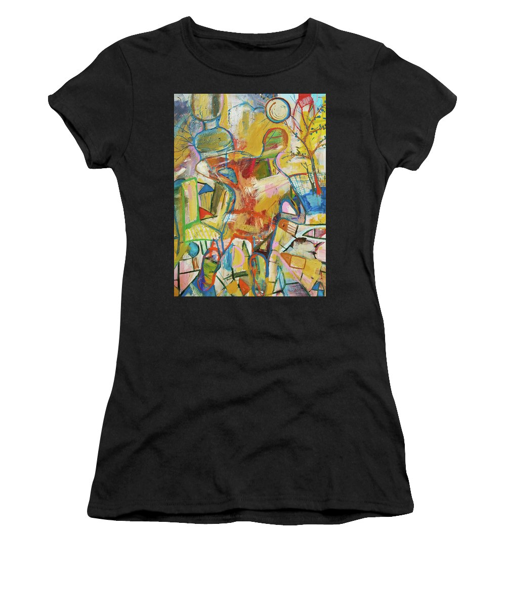 Figure Women's T-Shirt (Athletic Fit) featuring the painting Innards by Kari Sagal Allgire