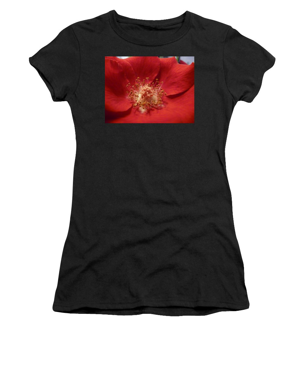 Rose Women's T-Shirt (Athletic Fit) featuring the photograph Inside The Rose by Valerie Ornstein