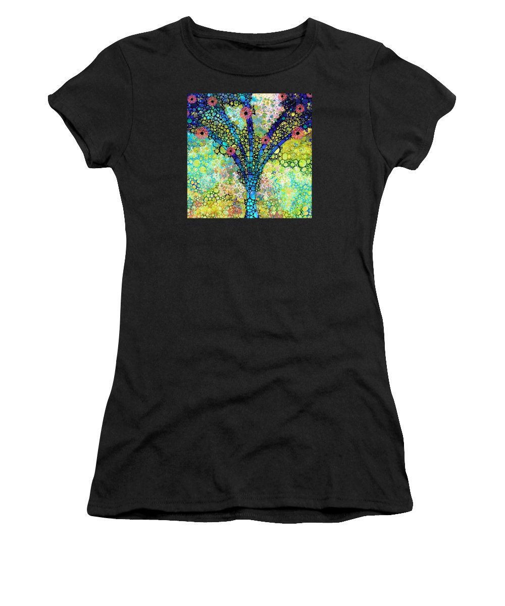 Tree Women's T-Shirt featuring the painting Inspirational Art - Absolute Joy - Sharon Cummings by Sharon Cummings