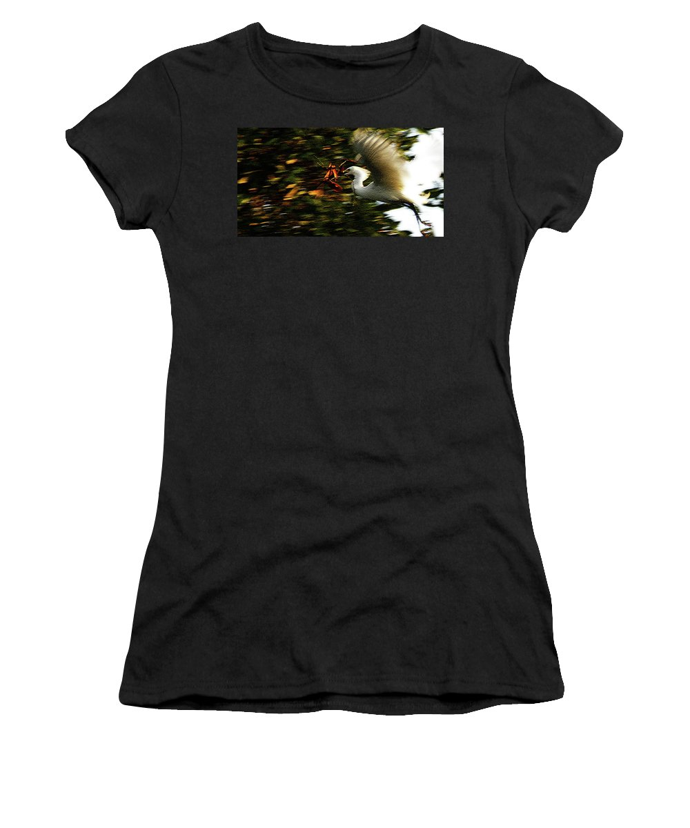 Egret Women's T-Shirt (Athletic Fit) featuring the photograph Instinctually Driven by Linda Shafer