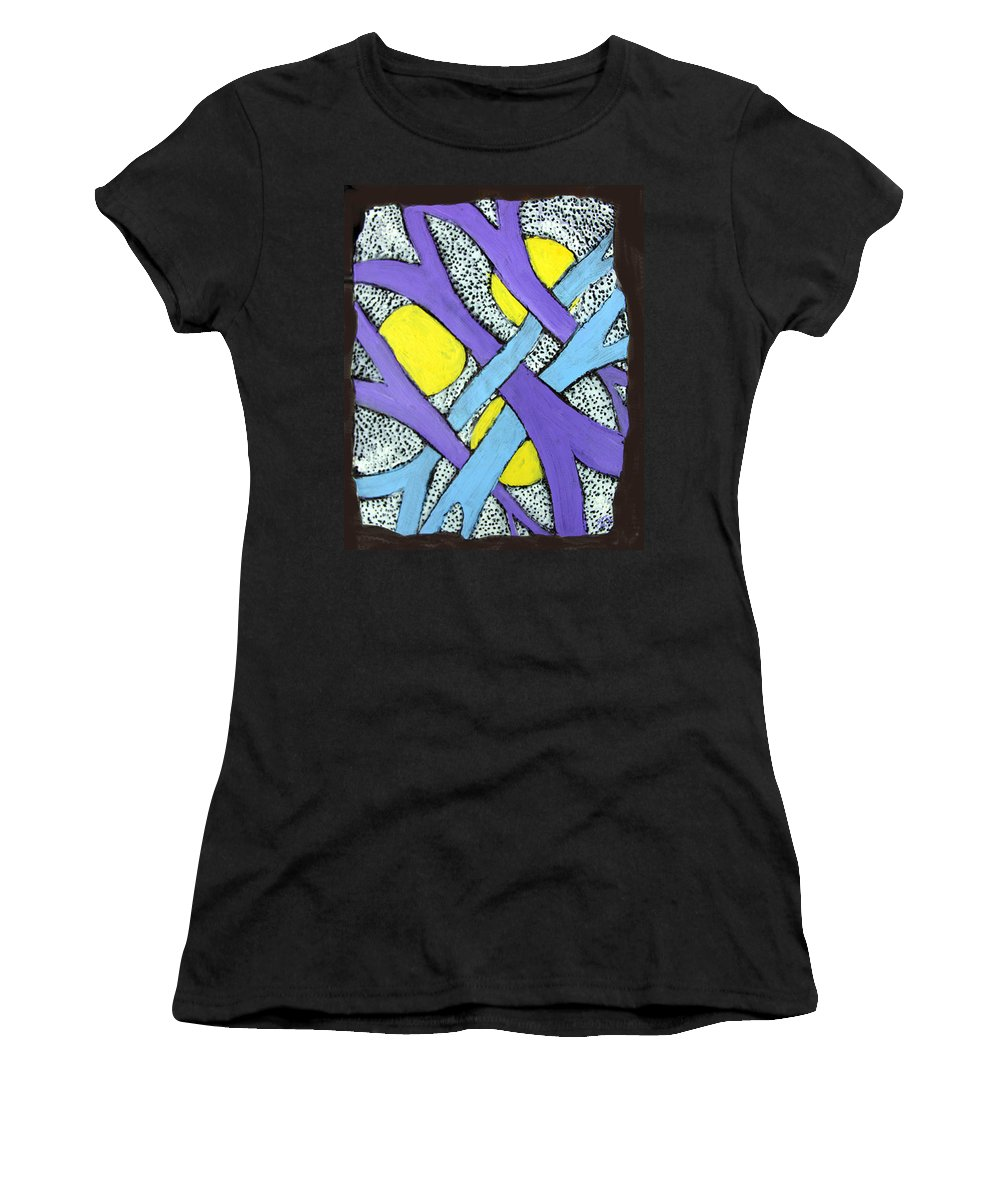 Abstract Women's T-Shirt (Athletic Fit) featuring the painting Intertwined by Wayne Potrafka