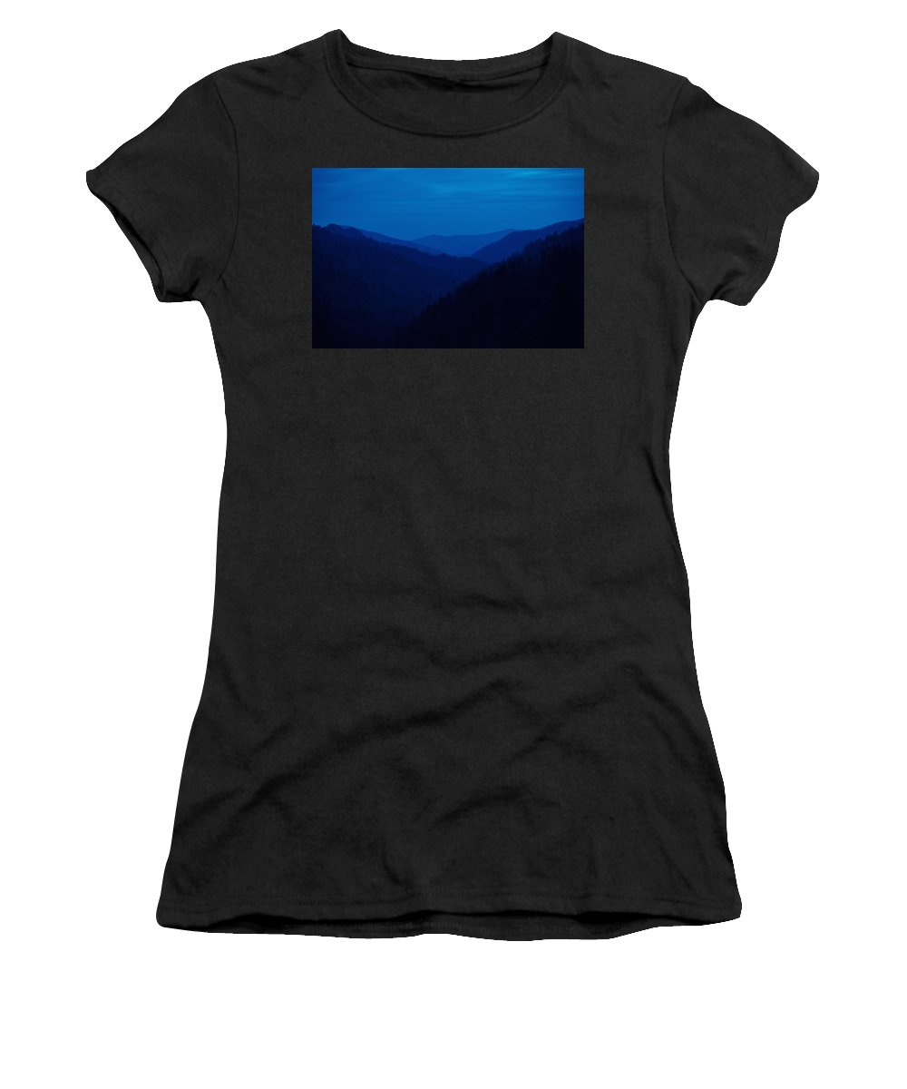 Great Smoky Mountains Women's T-Shirt (Athletic Fit) featuring the photograph Into The Blue by Rich Leighton