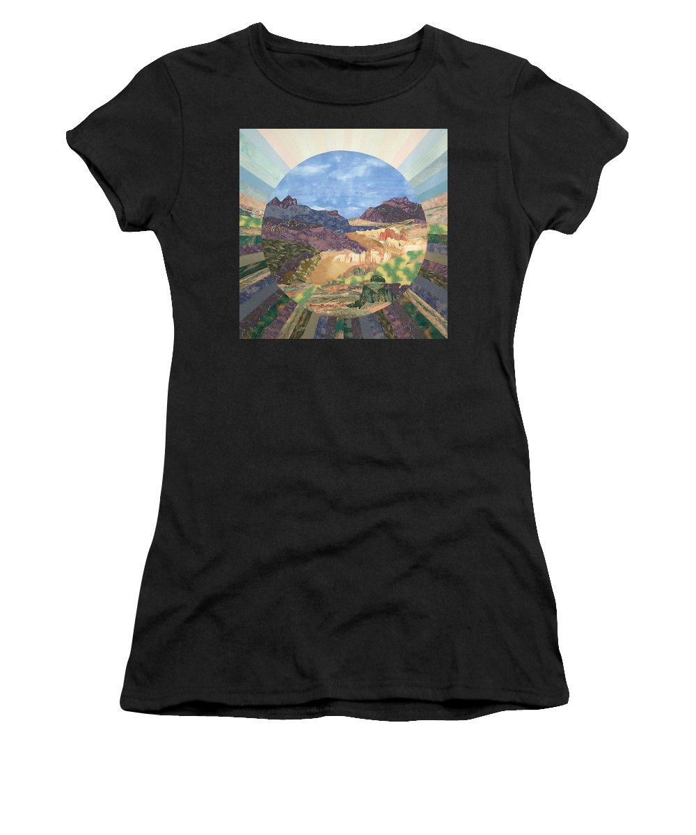 Quilt Women's T-Shirt (Athletic Fit) featuring the tapestry - textile Into The Mystery by MtnWoman Silver