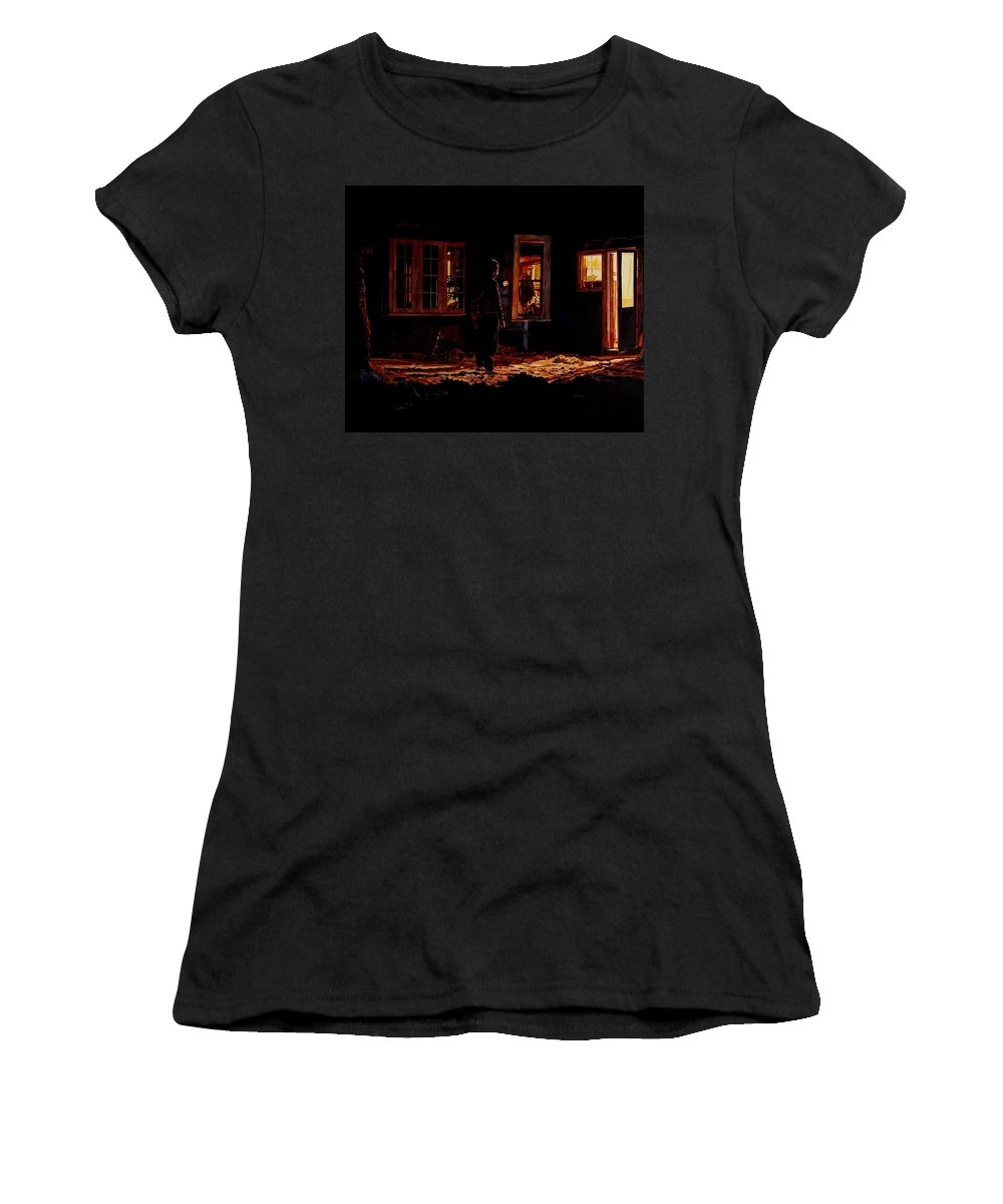 Night Women's T-Shirt (Athletic Fit) featuring the painting Into The Night by Valerie Patterson