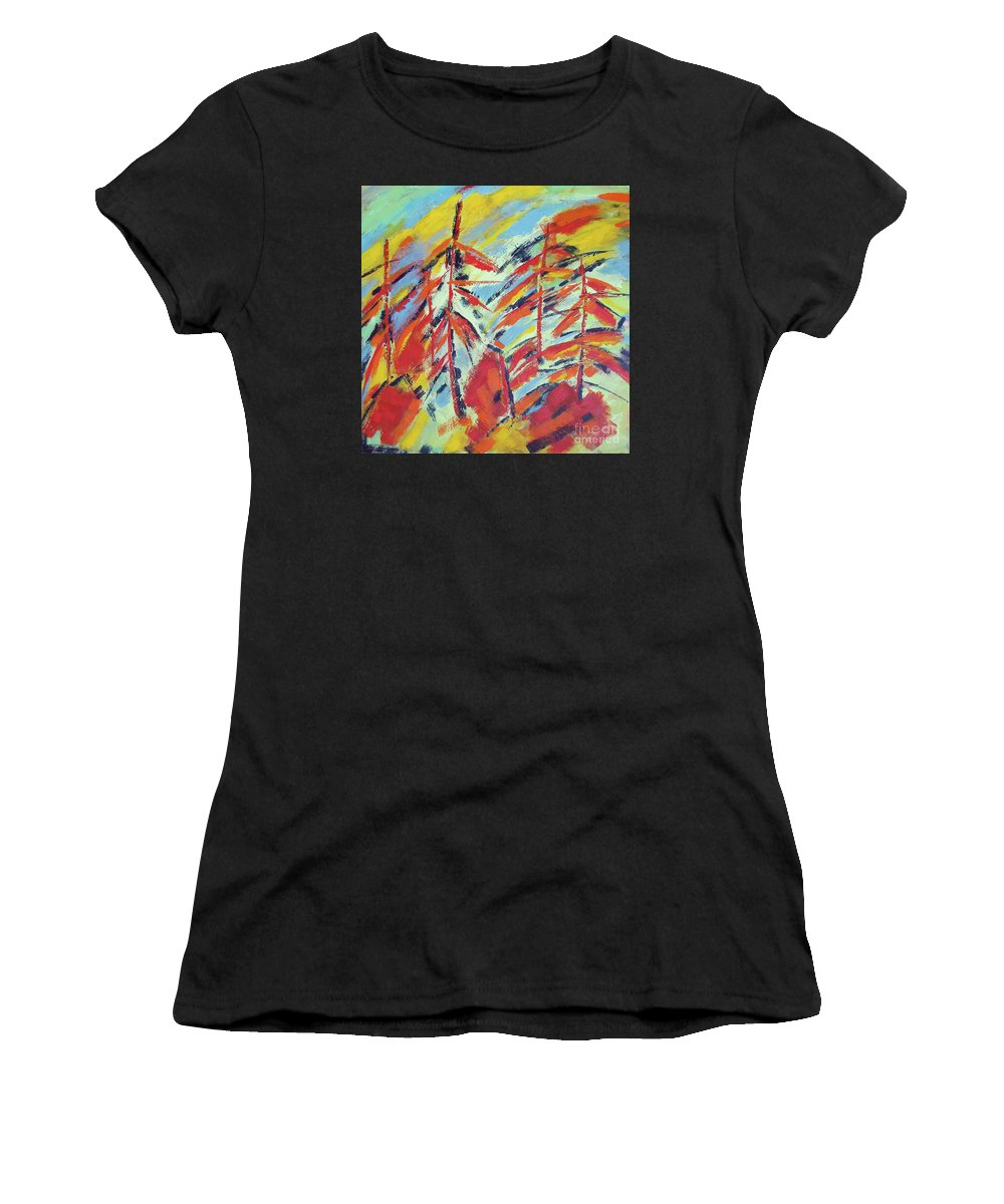 Forest Women's T-Shirt (Athletic Fit) featuring the painting Into The Woods I Go by Angela Maher