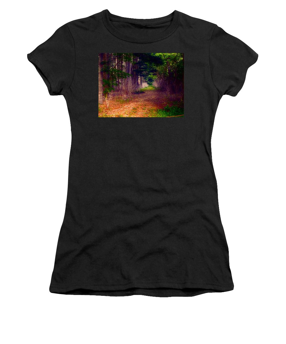 Woods Women's T-Shirt featuring the painting Into The Woods by Theresa Campbell