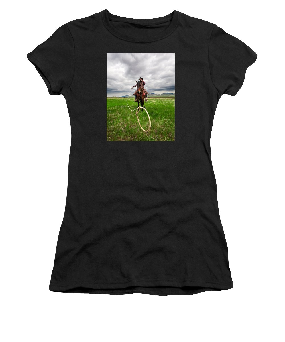 Cowboy Women's T-Shirt featuring the photograph Invisible Calf by Todd Klassy