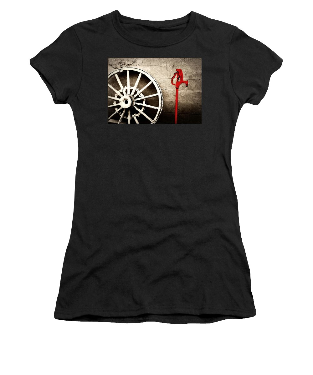 Barn Women's T-Shirt (Athletic Fit) featuring the photograph Iowa Hydrant by Julie Hamilton