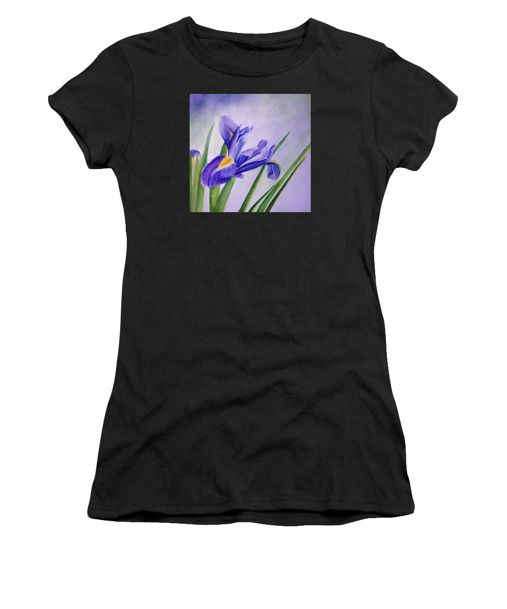 Iris Women's T-Shirt (Athletic Fit) featuring the painting Iris by Allison Ashton