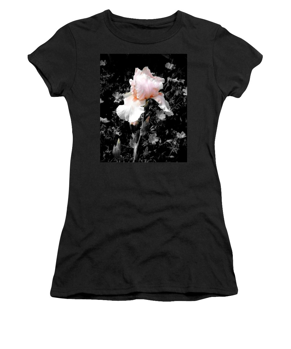 Flower Women's T-Shirt (Athletic Fit) featuring the photograph Iris Emergance by Steve Karol