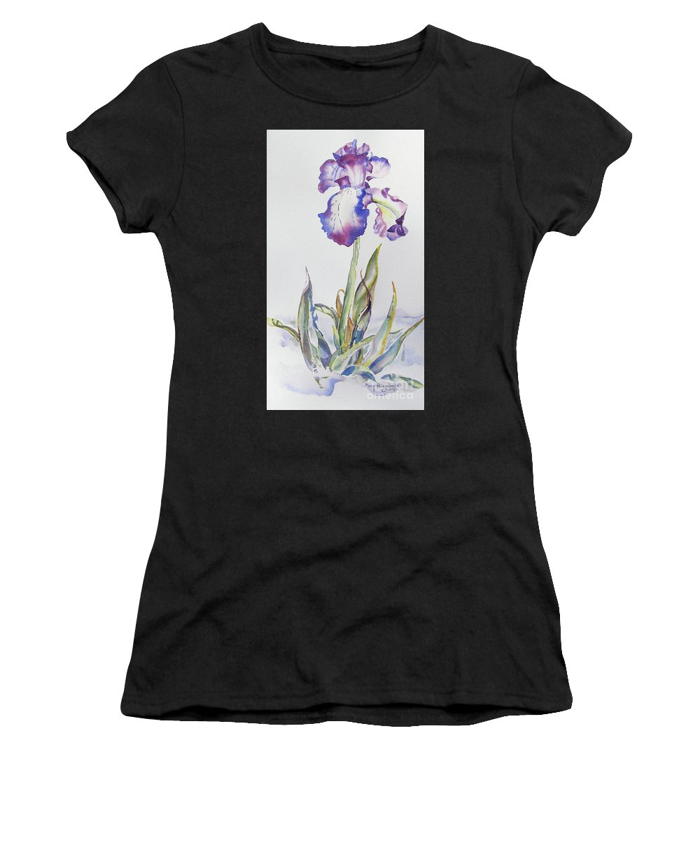Iris Women's T-Shirt (Athletic Fit) featuring the painting Iris Passion by Mary Haley-Rocks